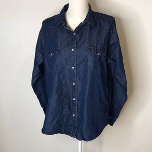 Wrangler Women's Shirt Sz XXL Denim Pearl Snap VTG